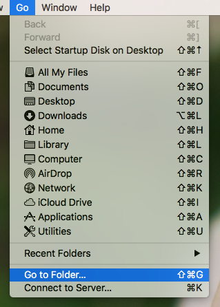 Go to folder menu option.